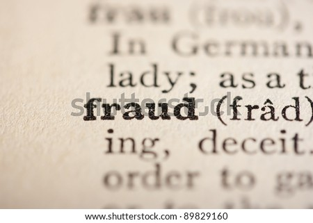 Word fraud from the old dictionary, a close up.