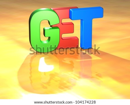 Word Get on yellow background (high resolution 3D image)