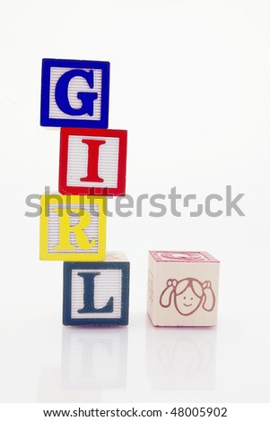 Word Girl in wooden blocks