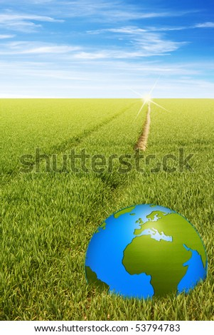 word globe in the green field with a path to horizon illustration