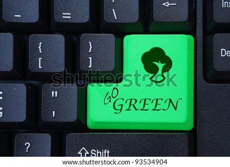 Word go green on green computer keyboard button