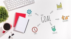Word Goal On White Office Desk Background With Motivational Wordcloud. Smart Goal Setting And Achievement Concept, Motivation And Aspiration. Panorama, Above View, Mockup