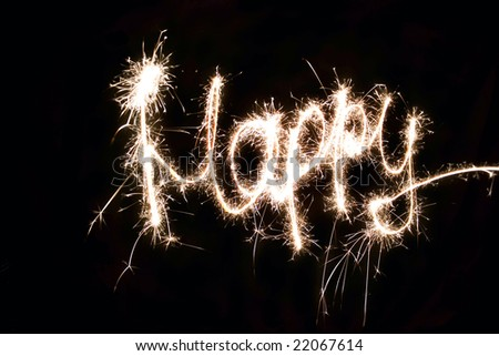 Word Happy made by sparkler
