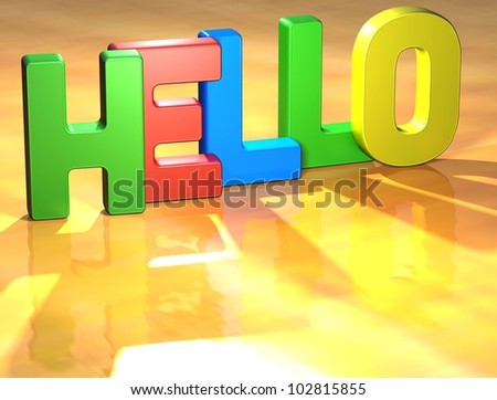 Word Hello on yellow background (high resolution 3D image)