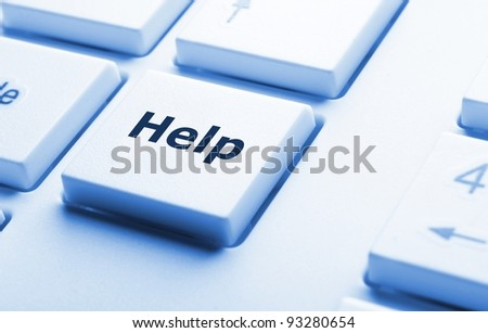word help on computer keyboard key showing question concept