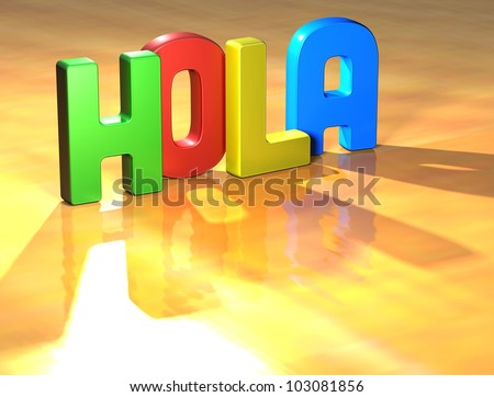 Word Hola on yellow background (high resolution 3D image)
