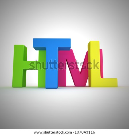 """Word """"Html"""" written by multicolored letters"""