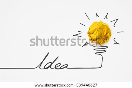 Word idea with yellow paper ball.Creative concept.