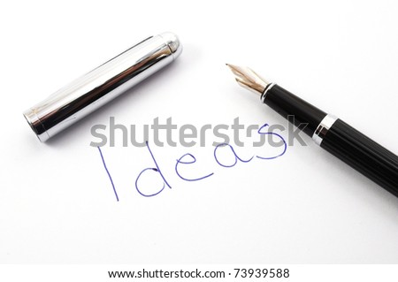 word ideas written on paper showing creativity concept