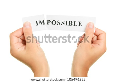 Word impossible isolated on white background - stock photo