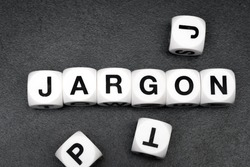 word jargon on white toy cubes