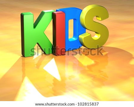 Word Kids on yellow background (high resolution 3D image)