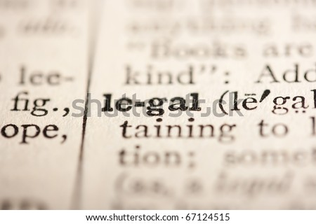 Word legal from the old dictionary, a close up.