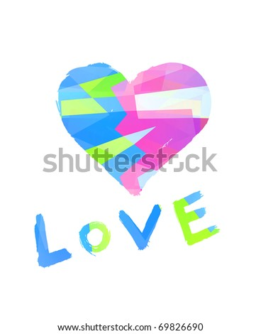 word ''love'' with heart symbol on white background - stock photo