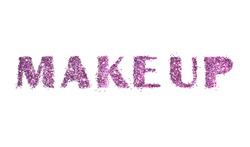 Word Make up of purple glitter on white background
