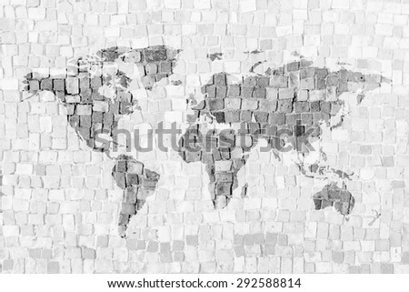 word map on mosaic background.