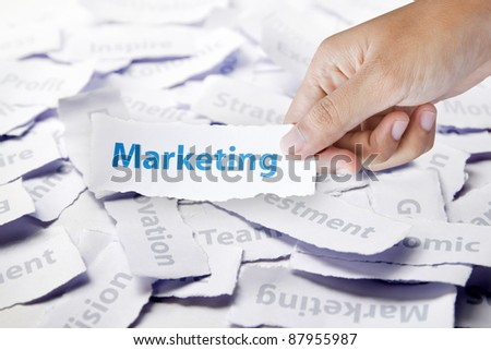 Word marketing in hand, business concept