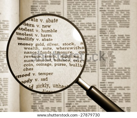 word money in vocabulary looking through the magnifying glass