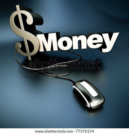 Word money with a dollar symbol in metallic texture connected to a computer mouse