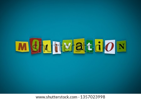 Word motivation of cut letters on blue background. Self development concept. Headline - motivation. A word writing text - motivation. Banner with the inscription - motivation. #1357023998