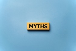 word myths on colorful wooden cubes, news concept.