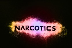 Word NARCOTICS reflected on white powder imitating drugs. Concept of health and medicine. Problems and drug addiction. The NARCOTICS inscription on a colored gradient.