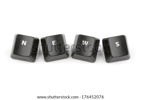 Word news formed with computer keyboard keys on white background with shadow - stock photo