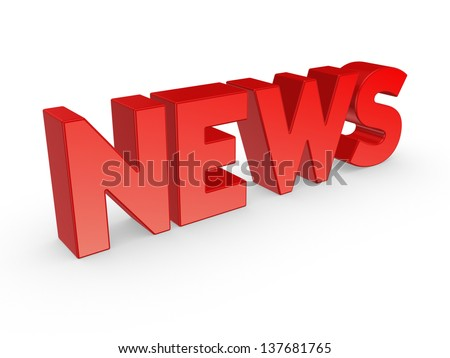 Word NEWS.Isolated on white background.3d rendered.