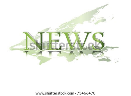 Word NEWS with world map against white background - green colored eco concept