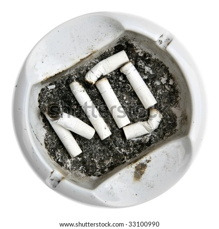 "Word ""NO"" made from cigarettes stubs in the ash-tray"