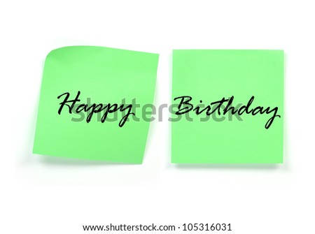 word of happy birthday on post it note isolate on white