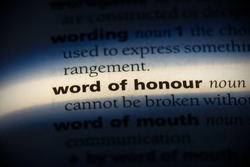 word of honour word in a dictionary. word of honour concept, definition.