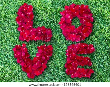 Word of love made from red rose petals on green grass field