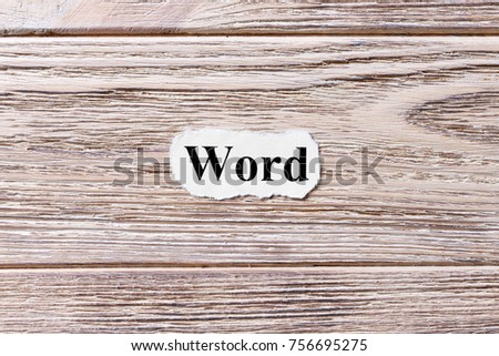 Word of the word on paper. concept. Words of Word on a wooden background. #756695275