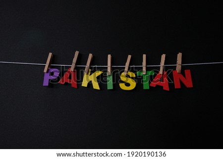 Word Pakistan on black background. Pakistan, officially the Islamic Republic of Pakistan, is a country in South Asia.  ストックフォト ©