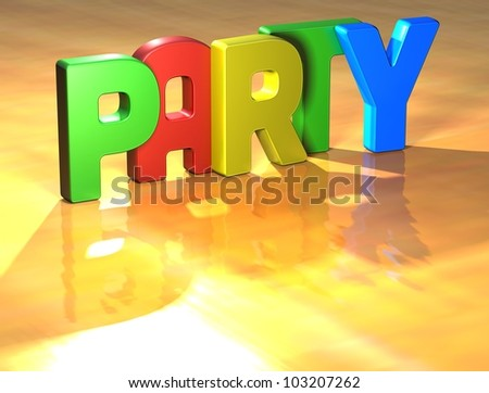 Word Party on yellow background (high resolution 3D image)