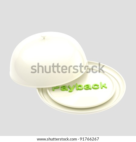 "Word ""payback"" under the white glossy dish cover isolated on white"
