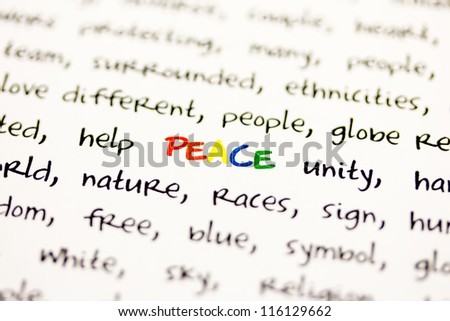 Word peace with blurred edges