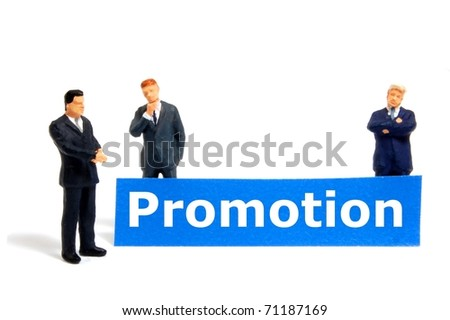 word promotion on board showing job success or sale concept