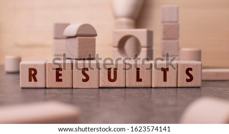 "Word ""Results"" written with wooden blocks"