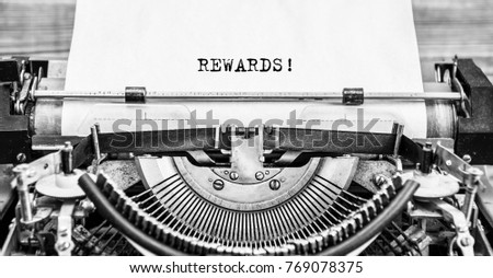 Word REWARDS typed on retro typewriter, old, vintage. close up. #769078375