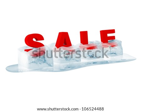 Word SALE in Melting Ice Cubes isolated on white background
