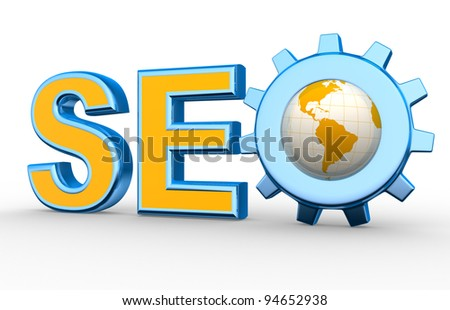 Word 'SEO' with earth globe and gear mechanism. Search engine optimization symbol. 3d render