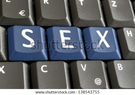 Word sex spelled on computer keyboard.