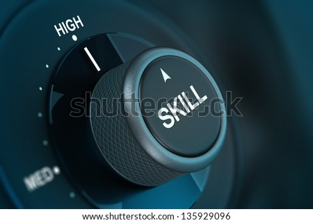 Word skill written on a button pointing on the word high 3D render over blue and black background