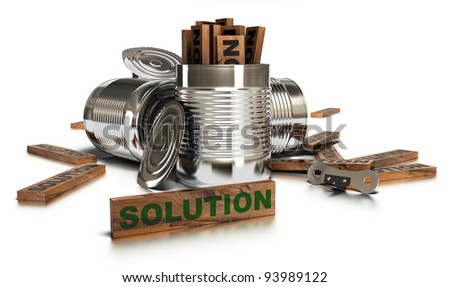 Word solution written onto a wooden piece with many opened tins and a can opener over a white background