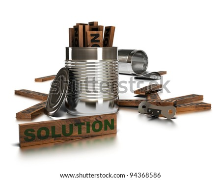 Word solution written onto a wooden piece with two opened tins and a can opener over a white background
