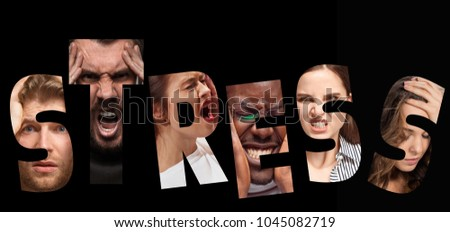 Word stress composed of anxious worried stressed faces of men and women on black. The collage of faces of angry, screaming, sad people. Human emotions, facial expression concept. #1045082719