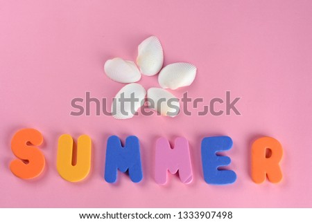 Word SUMMER letters and seashell or sea shell on pink textured background. Original idea from natural material for summer design. Flat lay. #1333907498