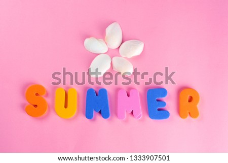 Word SUMMER letters and seashell or sea shell on pink textured background. Original idea from natural material for summer design. Flat lay. #1333907501